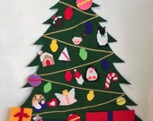 Large Felt Christmas Tree with 24 Removable Ornaments and 3 Packages for Children to Decorate