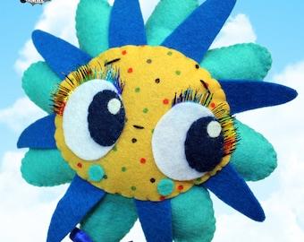 Perpetuflower blue flower big eyes plush doll watering can