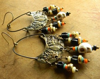Tribal Jewelry Earrings Skull Day of the Dead Halloween Chandelier