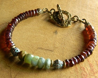 Boho Jewelry Bracelet Garnet Peruvian Green Opal Mykonos Verdigris Bronze Bohemian