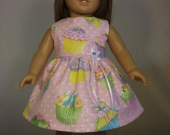 18 inch Doll Clothes Handmade Glittery Pink Polka Dot Cupcake Print Dress fits American Girl Doll Clothes Handmade