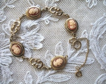 Vintage Carved Shell Cameo Bracelet ~ Bracelet ~ Amco ~ 14K.G.O.