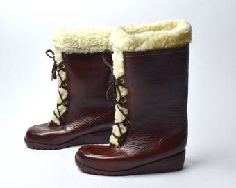 Rubber Lace Up Faux Shearling Boots, Size 8 - PERFECT Condtion!