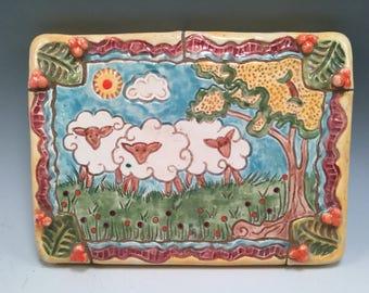 Decorative tile/sheep/black sheep/sheep painting/black face sheep/mosaic/mosaic tile/handmade tile/wall hanging/sheep art