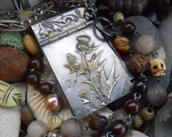 Down of a Thistle       French Thistle Memoire Notepad Assemblage Necklace