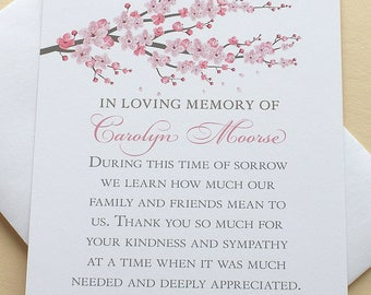Sympathy Thank You Cards with a Branch of Pink Blossoms - Personalized - FLAT Cards