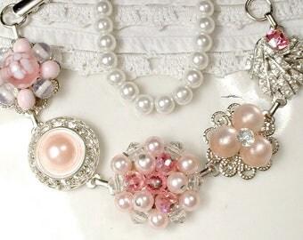 OOAK Pink & Champagne Blush Bridal Bracelet, Pearl, Rhinestone Silver Vintage Wedding Earring Bracelet, Bridesmaid Gift Shabby Romantic