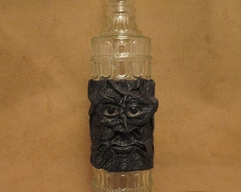 Grichels leather and glass fancy bottle - black and pewter floral textured leather with custom silver and red glitter eyes