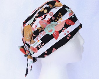 Scrub Hats for Women - floral stripes, black and white