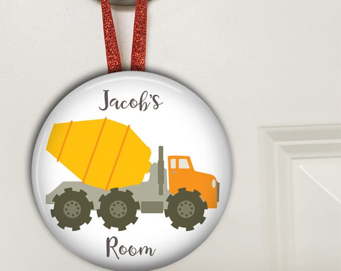 Truck door hanger - boys bedroom decor - truck birthday gift for son - name signs for kids - personalized door sign - HAN-PERS-15
