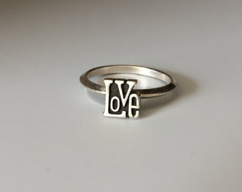 LOVE Stacking Ring. Sterling silver stacker jewelry mix and match. Peace love hippie sweetheart jewelry.