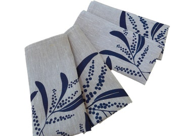 Linen Napkins Screen Printed Linen Napkins Hand Printed Linen Napkins Navy&Natural Australian Wattle (set of 4)