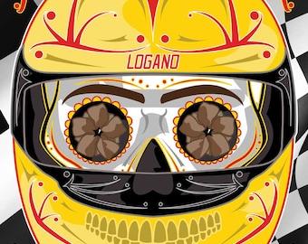 NASCAR Joey Logano Sugar Skull 11x14 print