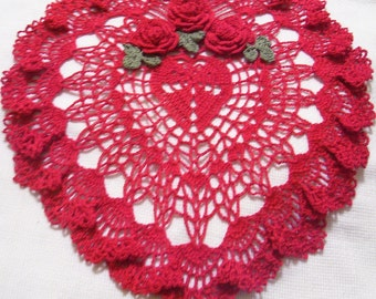 Merry Christmas/Mother's day/Valentines holiday heart crocheted doily gift home decor handmade in USA original design