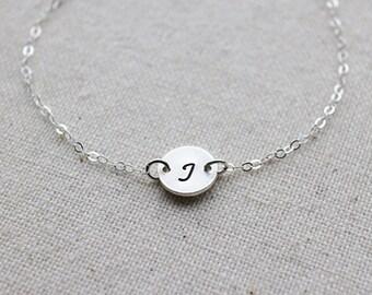 Initial Letter Bracelet. sterling silver personalized initial bracelet.monogram initial tag jewelry. minimalist birthday gift. friendship