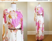30% OFF SALE Caftan Dress 1970s Pucci-esque Night Gown Lounge Vintage Maxi Large