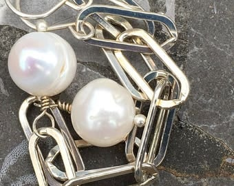 Long Sterling Silver Oblong Links with Large Baroque White Freshwater Pearls