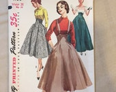 Vintage 50's Sewing Pattern, Full Skirt with Suspenders, Simplicity 1730, Vintage Size XS Extra SMALL Waist 25