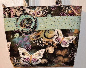 Quilted Purse Bag Tote with Zipper Closure by Quilted Creations By Me