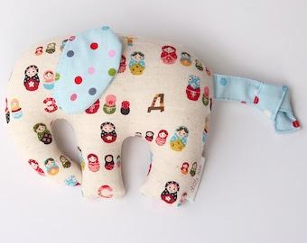 Elephant -- elephant softie -- elephant toy -- baby gift -- new baby gift -- baby boy -- baby boy gift -- elephant nursery -- babushka doll