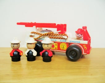 Fisher Price Wood Fire Truck with Men