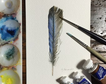 Blue Bird Feather - Original Watercolour nightly study
