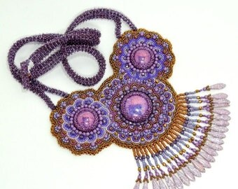 Holiday Sale Purple and Copper necklace Bead Embroidery Mandala Fringe