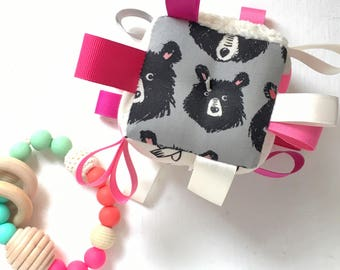 Neon Pink Baby Block, Girl Shower Gift, Black and Ivory, Birds and Bears, Duck Baby Block, Ribbon Baby Toy, Sensory Rattle, Modern