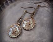 Fascination - Czech Glass Button Earrings Saphiret Colors Iridescent Pink Light Blue Flower Earrings Opalescent Dusty Rose Aqua Gold