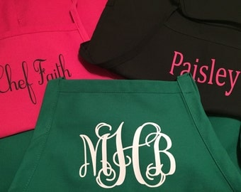 Custom Personalized Monogrammed Chef Apron Your Text or Monogram -Adult, Children, & Youth Sizes