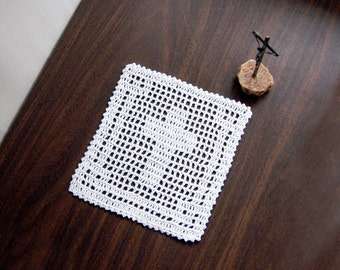Christian Cross Filet Crochet Doily, Spiritual Decor, Catholic Prayer Corner Accent, New