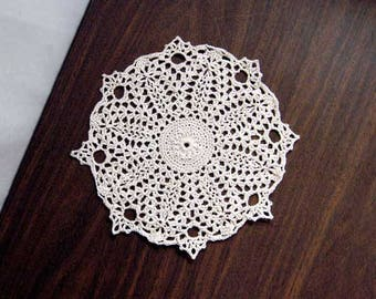 Water Lily Flower Crochet Lace Doily, French Country Decor, Paris Bedroom, Ecru, Floral, Detailed, New Table Accessory