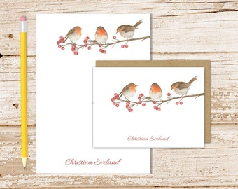 robin personalized stationery set . robins notepad + note card set . berry tree . watercolor nature, birds stationary gift set