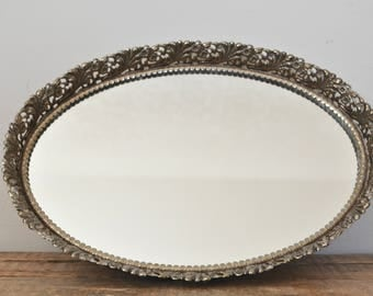Vintage Oval Mirrored Vanity Tray Brass / Gold Tone Filigree Dresser Display