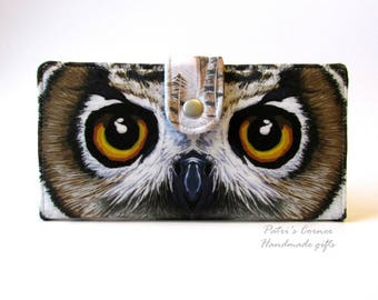 Handmade women wallet clutch Owl eyes beauty - beautiful eyes - Big eyes - ready to ship - ooak fabric - purse - wallets for women