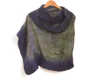 felted silk shawl, black grey yellow