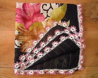 vintage black floral scarf, crochet trim