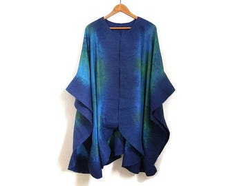 turquoise and green silk poncho with felted edges