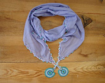 lilac cotton scarf, hairband, crochet circles