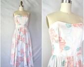 HALF OFF HOORAY vintage sweetheart floral dress / summer lovin' cotton peonies dress / large