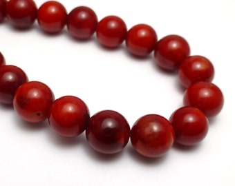 Coral Beads Round 7mm Smooth Bright Red 15.5 Inch Full Strand Stringing Beading Lovely Rich Color Nauticle Beach