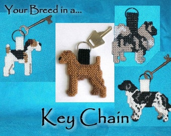 Parson Russell Terrier key chain, dog themed keyring handmade needlepoint keychain, Jack