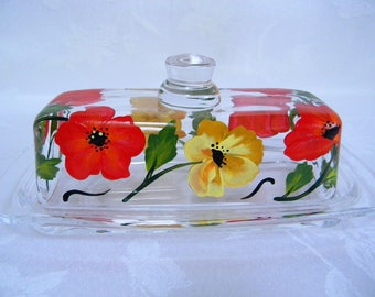 Butter dish, hand painted butter dish, butter dish with poppies, glass butter dish, covered butter dish,butter dish with lid,kitchen decor