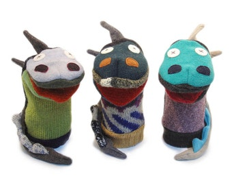 Cate and Levi Handmade Dragon Hand Puppet (Premium Reclaimed Wool), Colors Will Vary