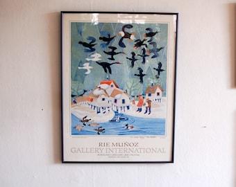 "Hand Signed Rie Munoz ""Annual Audubon Bird Count"" Portland, Oregon 1998 Lithograph Framed Poster ~ Renown Alaskan Artist"