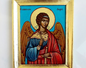 Guardian Angel handpainted icon, framed painting, orthodox icon on wood, 6 1/2 x 8 inches