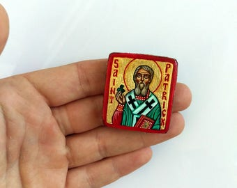 Saint Patrick Miniature handpainted icon painting 1x1 inches - MADE TO ORDER