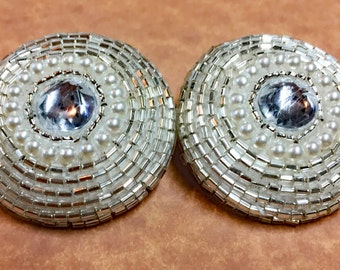 Vintage Glass Beaded Buttons - Wedding Buttons - Rhinestone and Pearl Buttons - Fancy Large Buttons - Jewelry Supply - B 117 - 2 Buttons