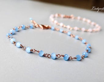 Rose Gold Plated Bracelet with Chalcedony