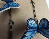 Butterfly hair grips set of two - Blue or red, Prom hair accessories, Wedding hair accessories, cute hair grips, quirky hair accessories